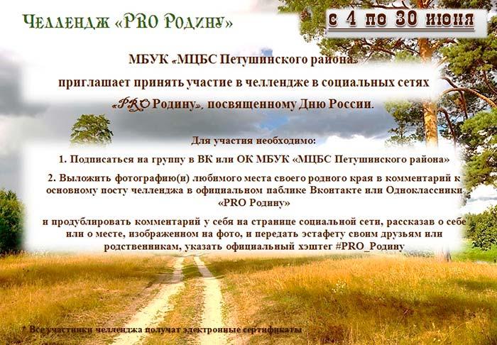 """Челлендж в социальных сетях """"#PRO_Родину"""""""