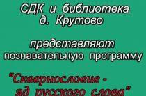 Познавательная программа «Сквернословие — яд русского слова»